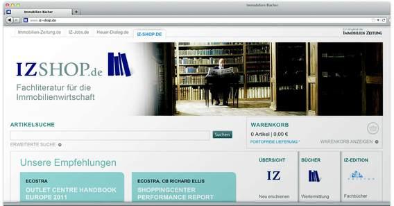 Der Buchshop der Immobilien Zeitung in neuem Outfit und mit neuen Inhalten. Bild: IZ