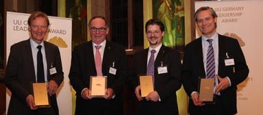 Die Preisträger des ULI Germany Leadership Award 2011 (v.l.n.r.): Uwe Bodemann, Karl Heinz Daehre, Nico B. Rottke und Alexander Otto, ehemaliger Vorsitzender von ULI Germany und ULI Europe.