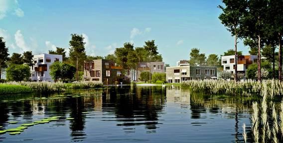 Idylle am künstlichen See: So soll die Bebauung und Landschaftsgestaltung des Projekts Fünf Morgen Dahlem Urban Village aussehen. Bild: Stofanel