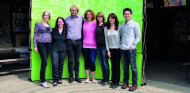 Das Team der FM-Pioniere auf dem Kinderbauernhof Pinke-Panke (v.l.n.r.): Monique Bahr, Isabel Mietzke, Niklas Pempel, Tina Eckelmann, Christiane Eckstein, Corinna Knoll und Xuran Li.