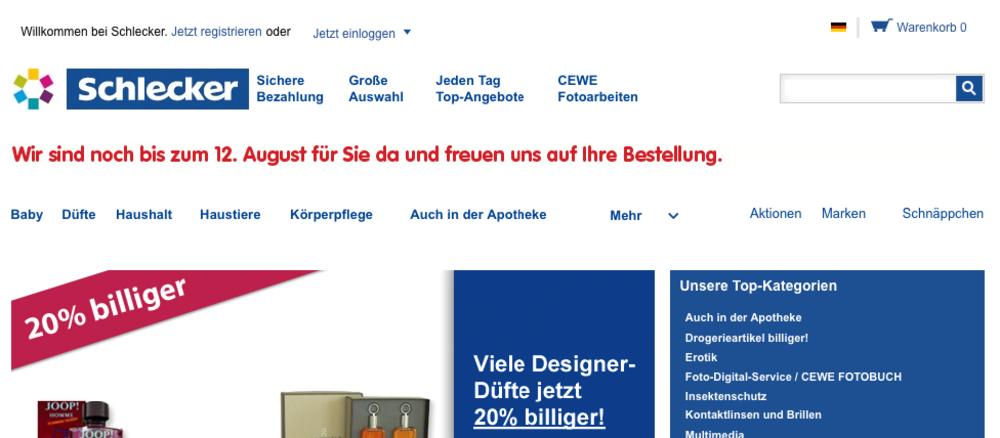 Bild: Screenshot schlecker.de