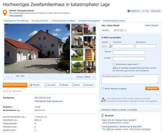 Bild: Screenshot immobilienscout24.de