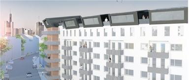 Der Wettbewerbsbeitrag des Teams der FH Frankfurt sieht das Aufsetzen einer neuen Wohneinheit auf ein bestehendes Gebäude vor. Der so genannte Symbiont deckt seinen eigenen Energieverbrauch durch Sonnenenergie.