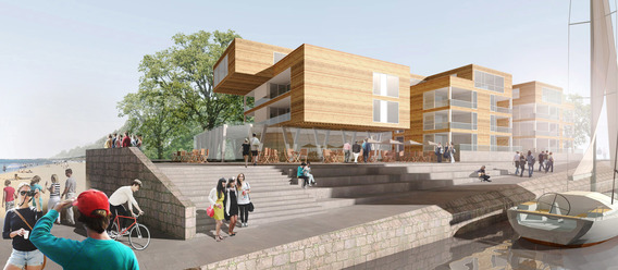 Mit diesem Entwurf konnten eins:eins Architekten den Ideenwettbewerb für den Teilbereich Südermole gewinnen.  eins:eins Architekten