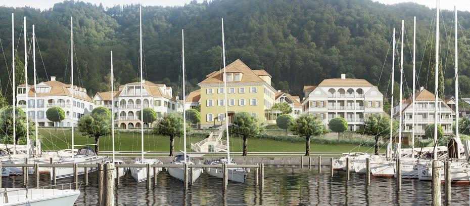 Eine Seedomäne mit Villen und Bootsliegeplätzen