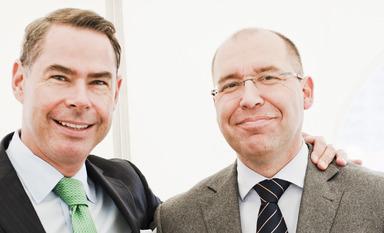Die Unternehmensgründer Mathias Düsterdick (l.) und Christoph Hüttemann.