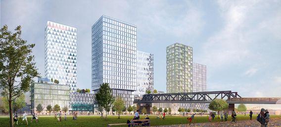 Luftig und leicht wirkt der Entwurf von Cobe am Gleisdreieck. Die versetzt angeordneten Hochhäuser rücken direkt an den Park heran.  Bild: Cobe