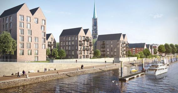 Mit zweispännigen Gebäuden in Form von Packhäusern konnten sich die Architekten Hilmes Lamprecht im Wettbewerb Stephanitor durchsetzen. Bild: Hilmes Lamprecht Architekten