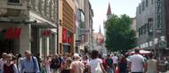 In Münchner Einkaufsstraßen flanieren die meisten Passanten
