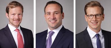 Jan-Henning Ihnen, Associate, Mario Herbst, Associate, und Nicolas Heisig, Consultant, verstärken ab Juli 2016 die Office Agency National bei Cushman & Wakefield in Deutschland (von links nach rechts).