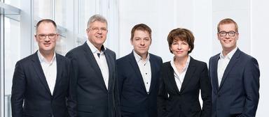 Der Project-Vorstand Anfang 2017 (v.l.): Henning Niewerth (Zentrale Dienste, Software), Jürgen Seeberger (Vorsitz, Strategie), Michael Weniger (Bau, Planung), Karen Rieck (Finanzen) und Matthias Schindler (Projektentwicklung).