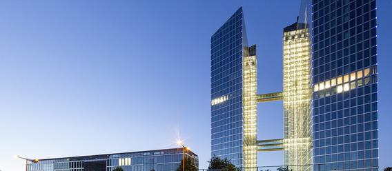 Die teuersten Türme Münchens. Mit mehr als 500 Mio. Euro Investitionsvolumen haben die HighLight Towers einen guten Teil zum Rekordergebnis auf dem Gewerbeimmobilienmarkt beigetragen.  Bild: CommerzReal