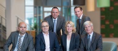 V.l.n.r.: Tarik B'shary, Laurent Picheral (COO von AccorInvest Global), Ralf Bombita, Andrea Agrusow, Michael Verhoff und John Ozinga.