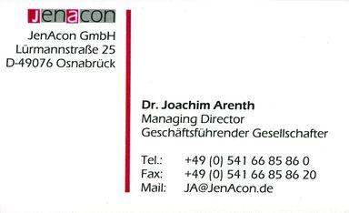 Visitenkarte Dr. Joachim Arenth