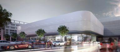 So soll das neue Serviceterminal der Mercedes-Welt am Salzufer im Berliner Stadtteil Tiergarten aussehen.
