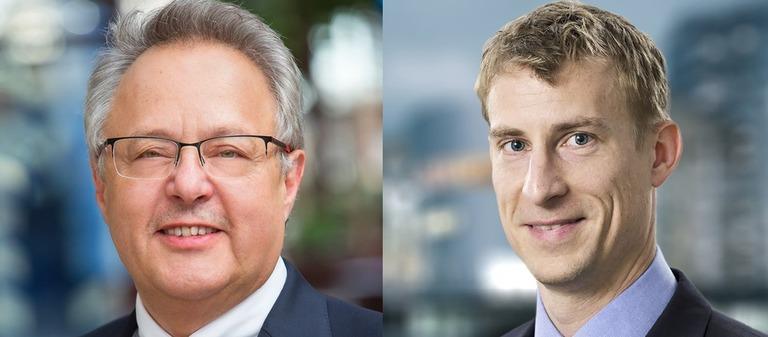 Der alte und der neue Chef von Apleona HSG Facility Management: Otto Kajetan Weixler (links) und Robin Petersen.