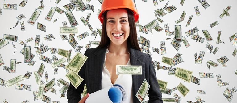 Geldsegen, Geldregen: Immobilienprofis gehören laut Xing zu den Bestverdienern auf dem deutschen Arbeitsmarkt - Architekten und Ingenieure eher nicht.