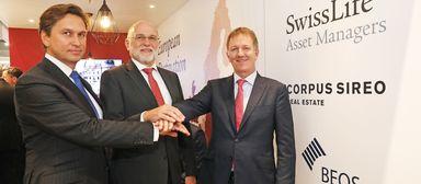 Auf der Expo Real 2018 fochten Beos-Vorstandssprecher Martin Czaja (links), Bernhard Berg als CEO von Corpus Sireo (Mitte) und Stefan Mächler, Group CIO von Swiss Life, noch gemeinsam. Drei Monate später waren die Tage von Berg bei Corpus Sireo gezählt.
