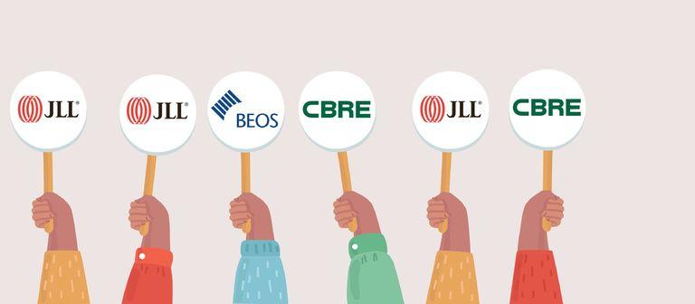 Die drei beliebtesten Arbeitgeber - JLL, CBRE und Beos - vereinen knapp 25% aller Stimmen auf sich.