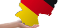 Quelle Hand: Pixabay, Urheber: Zhivko Dimitrov; Quelle Deutschlandkarte: Fotolia.com, Urheber: Grum_I; IZ-Montage
