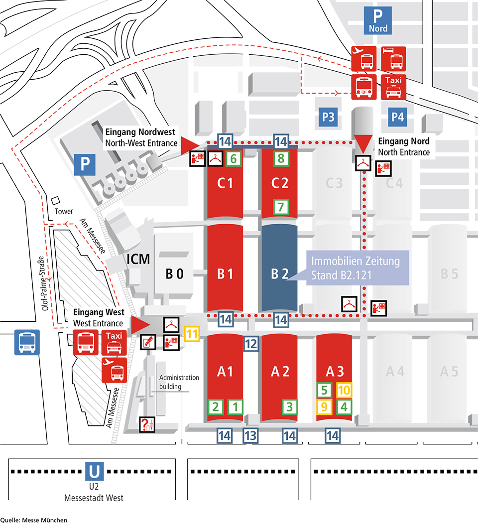 Hallenplan Expo Real: Übersicht