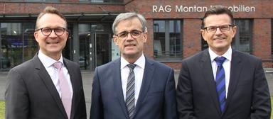 Die neu zusammengesetzte Geschäftsführung von RAG Montan Immobilien (v.l.): Ulrich Wessel, Uwe Penth und Hans-Jürgen Meiers.