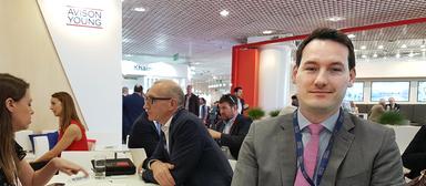 Deutschlandgeschäftsführer Udo Stöckl auf dem Avison-Young-Stand bei der Immobilienmesse Mipim 2019. Er verlässt das Unternehmen und ist nicht mehr operativ im Amt.